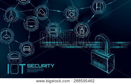 Iot Cyber Security Padlock Concept. Personal Data Safety Internet Of Things Smart Home Cyber Attack.