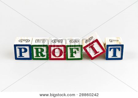 Profit word made by letter blocks