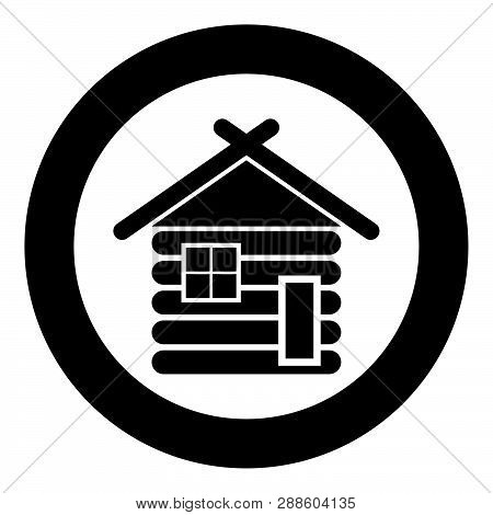 Wooden House Barn With Wood Modular Log Cabins Wood Cabin Modular Homes Icon Black Color Vector In C