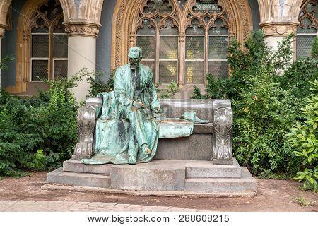 Budapest, Hungary - August 23 2008: Statue Of Grof Karolyi Sandor At Vajdahunyad Castle By Alajos St