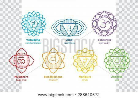 Chakras System Of Human Body - Used In Hinduism, Buddhism, Ayurveda. Line Art  Version. For Design,