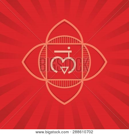 Muladhara - The First Primary Chakra. Vector Square Flat Illustration, Poster, Label, Banner - For Y
