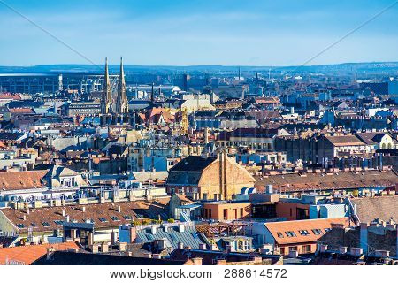 Panorama Of Budapest From The Dome Of Saint Istvan Basilica. Budapest, Hungary.