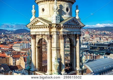 View Of Bell Tower And Budapest Cityscape From The Cathedral. Budapest, Hungary.