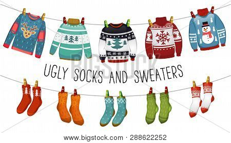 Ugly Sweaters And Socks Collection. Christmas Socks And Swealers For Party, Invitation, Greeting Car