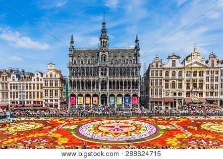Brussels, Belgium - August 16, 2018: Grand Place During Flower Carpet Festival. This Year Theme Was