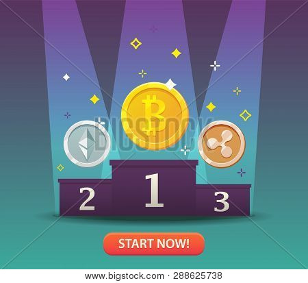 Cryptocurrency Coins. Bitcoins And Virtual Money Concept. Flat Modern Design Concept Of Crypto Curre