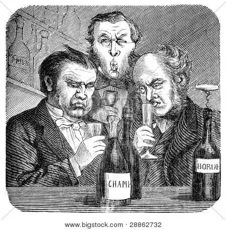 19th century wine snobs.. Engraving by unknown artist from Swedish magazine