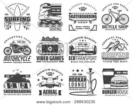 Hobby Activities, Recreation And Sport Vector Icons. Surfing And Skating, Skateboarding And Bicycle,