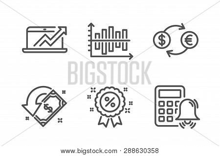 Diagram Chart, Currency Exchange And Discount Icons Simple Set. Sales Diagram, Cashback And Calculat