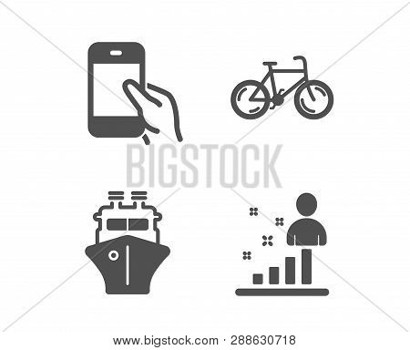 Set of Ship, Bicycle and Hold smartphone icons. Stats sign. Shipping watercraft, Bike, Phone call. Business analysis.  Classic design ship icon. Flat design. Vector poster