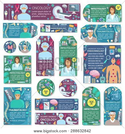 Doctors and patient treatment, medical equipment. Oncology and infectology, traumatology and endocrinology. Vector organs and skeleton, MRI and pills, wheel chair and X-ray, virus and tumor, isolated poster
