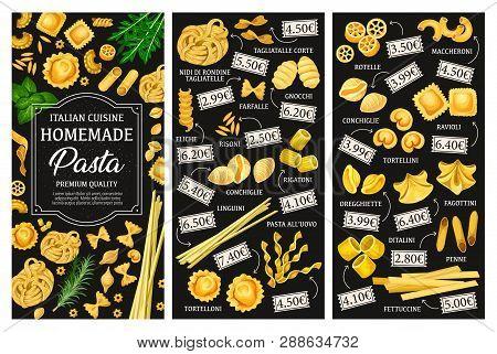 Italian Pasta Menu, Cuisine Dishes. Vector Tagliatelle And Farfalle, Gnocchi And Risoni, Eliche And