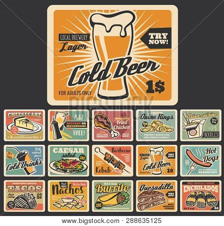 Fast Food Retro Signboards, Meal And Dessert. Vector Beer And Cheesecake, Chicken And Onion Rings, N