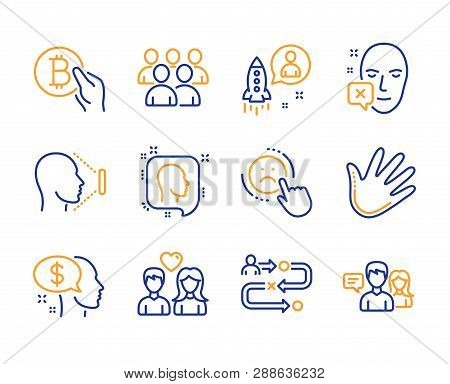 Group, Pay And Dislike Icons Simple Set. Hand, Startup And Face Declined Signs. Journey Path, Face I