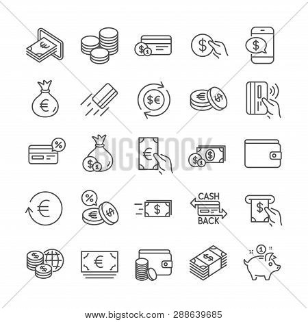 Money Wallet Line Icons. Set Of Cash, Credit Card And Coins Icons. Banking, Currency Exchange And Ca