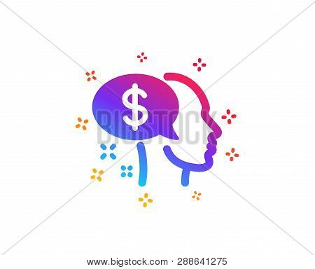 Pay Icon. Think About Money Sign. Beggar Symbol. Dynamic Shapes. Gradient Design Pay Icon. Classic S