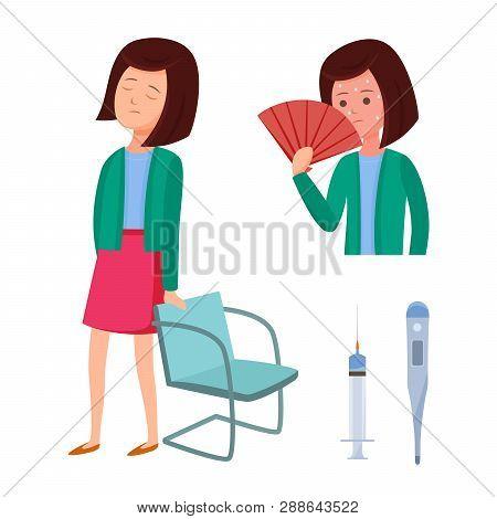 Health Problems, Zika Virus. Girl Feels Discomfort, Malaise, Dizziness, Fever.