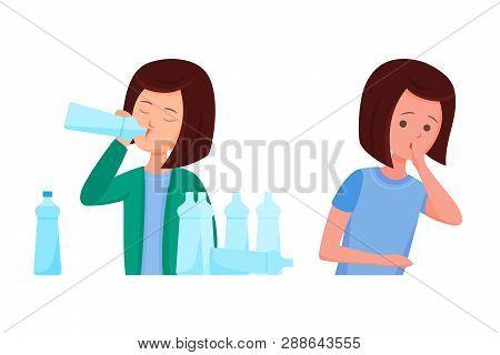 Health Problems, Zika Virus. Girl Feels Nausea, Thirst Of Water.