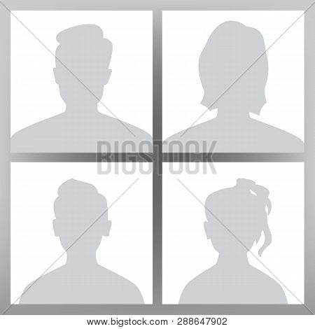 Default Avatar Vector. Placeholder Set. Man, Woman, Child Teen Boy, Girl. User Image Head. Anonymous