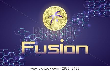 Banner With Realistic Gold Coin Fusion And Dark Blue Background . Stock Illustration. Crypto Currenc