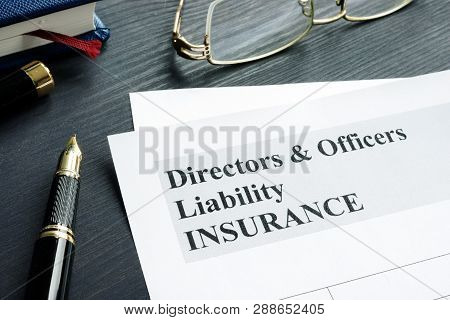 Directors and Officers Liability D&O insurance application form. poster