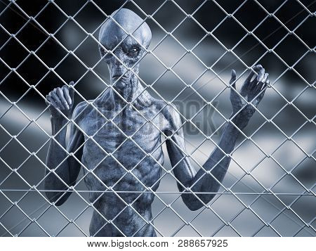 3d Rendering Of An Alien Creature Standing Trapped Behind A Chain Link Wire Steel Metal Fence, Looki