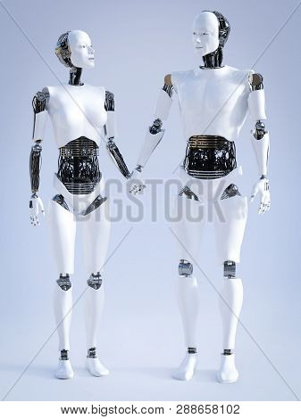 3d Rendering Of A Male And A Female Robot Standing Beside Each Other And Holding Hands, Looking At E