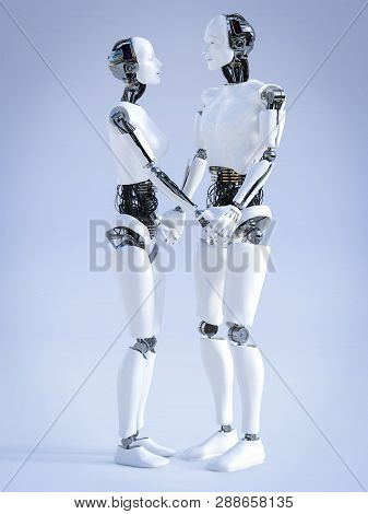 3d Rendering Of A Male And A Female Robot Standing Facing Each Other And Holding Hands, Looking At E