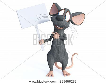3d Rendering Of A Cute Smiling Cartoon Mouse Holding A Blank Sign. He Is Looking At The Sign And See
