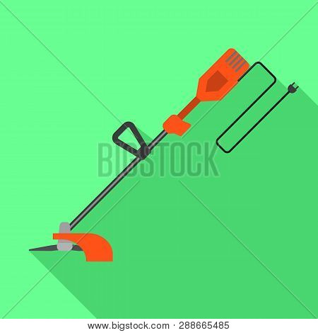 Grass Trimmer Icon. Flat Illustration Of Grass Trimmer Vector Icon For Web Design