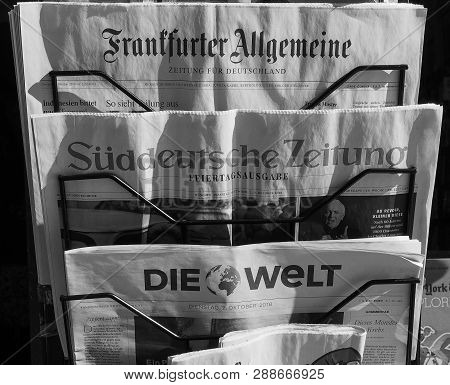 Turin, Italy - Circa October 2018: German Newspapers Including Frankfurter Allgemeine, Sueddeutsche
