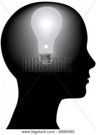 Idea Woman Mind Light Bulb In Silhouette Head