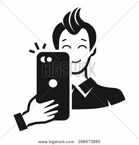 The Guy Takes Pictures By Phone Icon. Simple Illustration Of The Guy Takes Pictures By Phone Vector