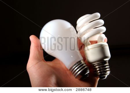 Cfl Lightbulb And Incandescent