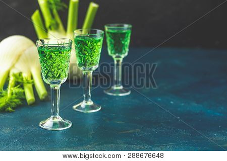 Traditional Italian Or Czech Liqueur Or Bitter With Fennel