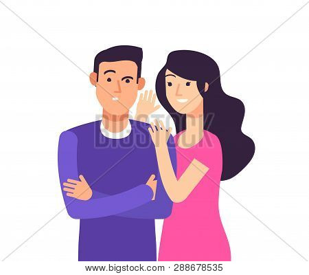 Gossiping. Woman Speaking Rumor Gossip Whisper Secret To Shocked Man Whispering Vector Cartoon Conce
