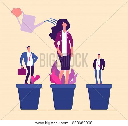 Employees Growth. Business Professional People In Flowerpot Development Training Growing Management