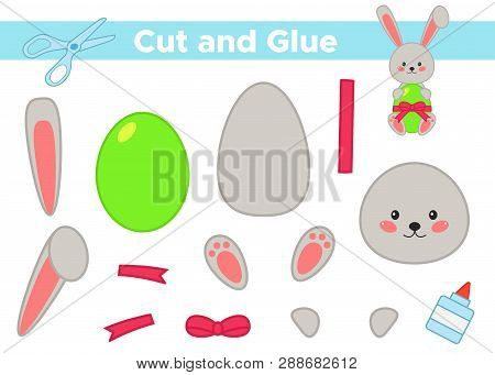 Education Paper Game For Preschool Kids. Create The Applique Cute Easter Rabbit With Egg. Cut And Gl