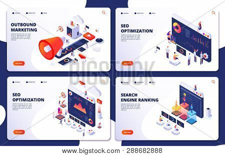 Search Engine Rank, Seo Optimization Vector Isometric Landing Pages. Seo Marketing And Analytics, On