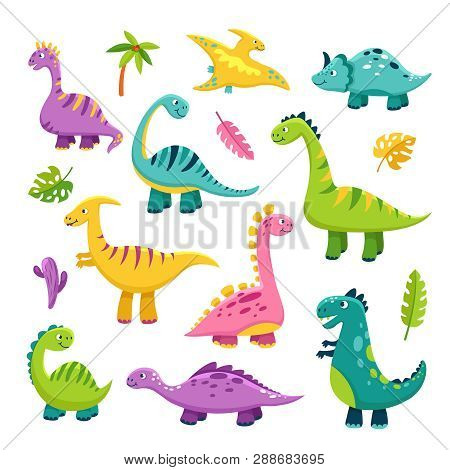 Cute Dino. Cartoon Baby Dinosaur Stegosaurus Dragon Kids Prehistoric Wild Animals Brontosaurus Isola