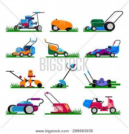 Lawn Mower Vector Gardening Lawnmower Electric Equipment Machine And Garden Mowing Trimmer Illustrat