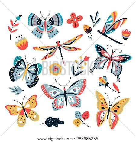 Butterfly On Flowers. Insect Dragonflies Butterflies Moth And Flower Hand Drawn, Sketch Vector Isola