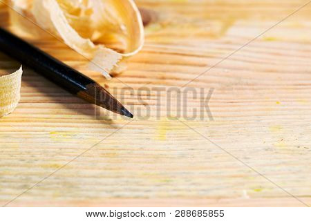 Carpenter Tools On Wood Table Background. Copy Space. Top View