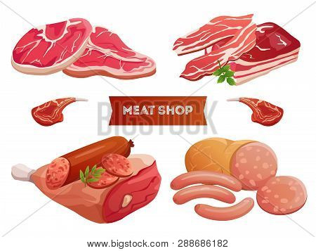 Cartoon Meat Products And Fresh Meat Vector Isolated On White Background. Meat Ribs Delicious, Fresh