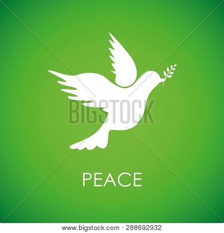 White Peace Dove On Green Background Vector Illustration Eps10