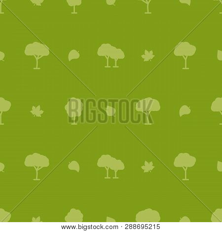 Tree Vector Pattern On Green Background For Natural Product Store, Garden, Nature Cosmetics, Ecology