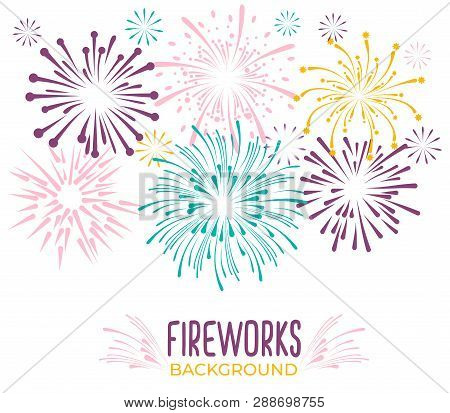 Fireworks Collection Isolated On White Background. Colorful Festive Firework Background. Vector Illu