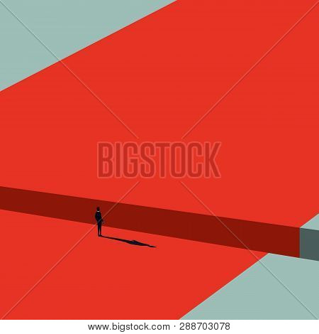 Business Solution Of A Challenge Vector Concept. Businessman Looking For Solution. Minimalist Art St