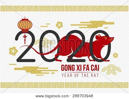 Chinese New Year (gong Xi Fa Cai)  With 2020 Text Of Year And Red Rat Chinese Zodiact Sign On White